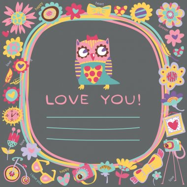 Owls Love cute background. Template for design cartoon greeting