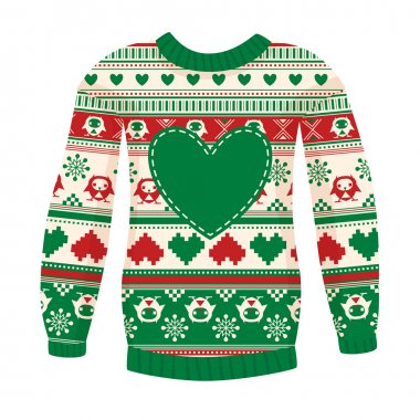 Warm sweater with owls and hearts.