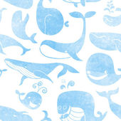 Whale. Seamless pattern.
