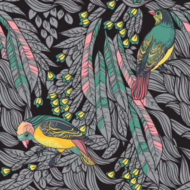 Birds with feathers and flowers. Seamless Background.