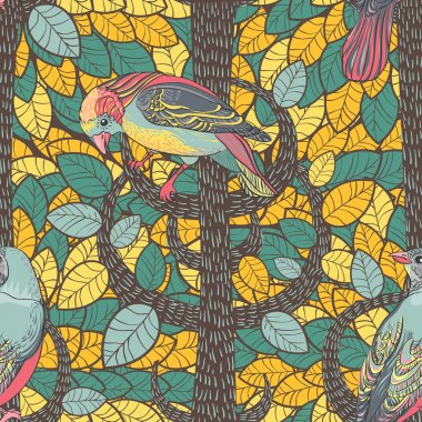 Birds in the autumn wood. Seamless Background.