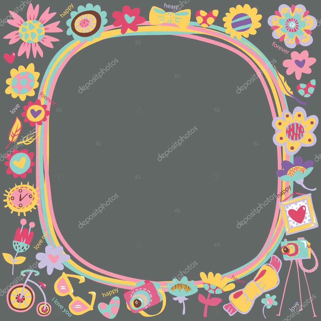 marco lindo de flor amor con cosas de moda — Archivo Imágenes ...
