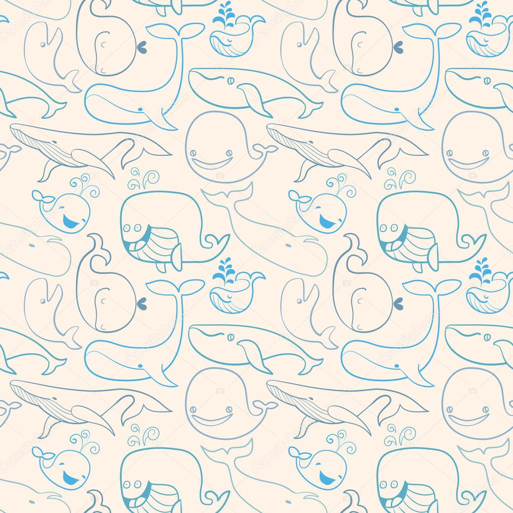 Cute doodle Blue Whales. Marine seamless background. Light versi