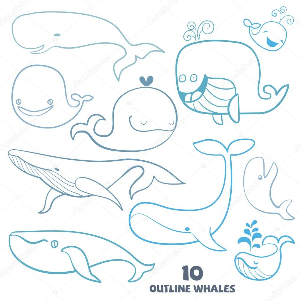 Set of cute doodle Whale Characters. Hand drawn vector illustrat