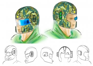 Illustration of conceptual gas mask and recon helmet army