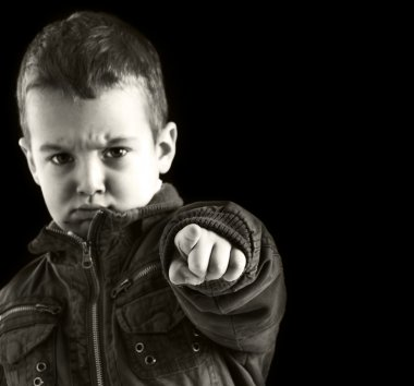 Angry Child Pointing at You