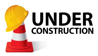 Yellow safety cap worker on red cone. Under construction concept. Vector illustration stock vector