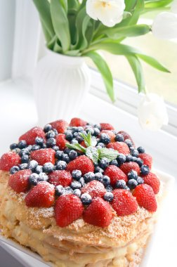Berries Cake and Tulips