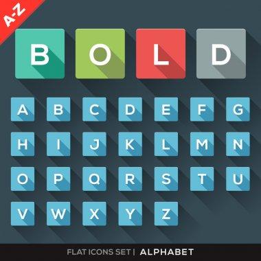 A-Z Alphabet Flat Icons Set