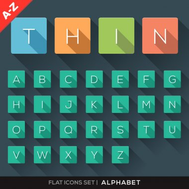 A-Z Alphabet Flat Icons Set
