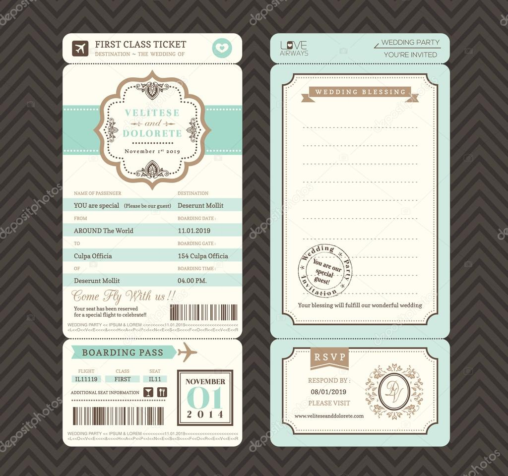Vintage Style Boarding Pass Ticket Wedding Invitation Template V - Boarding pass wedding invitation template