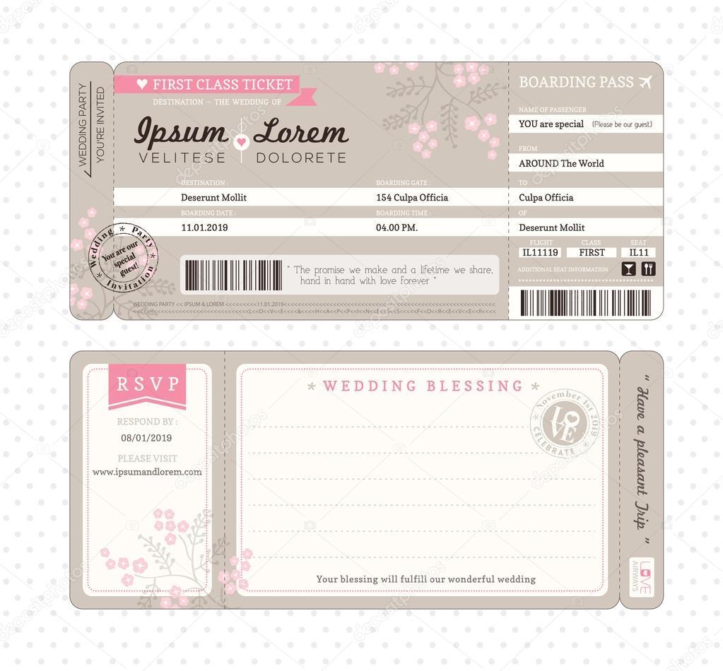 Plantilla de invitación de boda tarjeta de embarque — Vector de ...