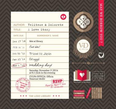 Library card Idea Wedding Invitation