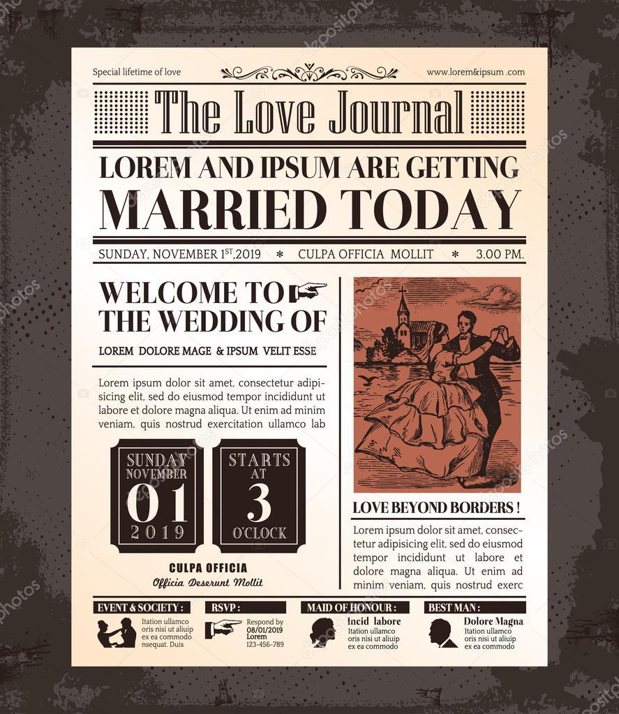 Vintage newspaper wedding invitation card design stock vector vintage newspaper wedding invitation card design stock vector stopboris Image collections