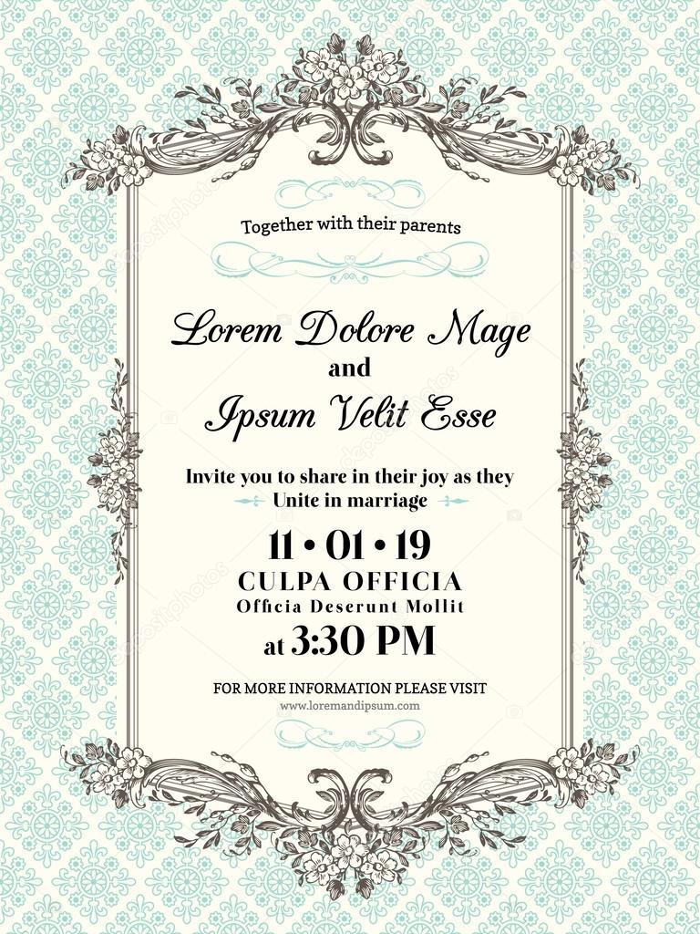 Wedding Invitations Frames And Borders Vintage Wedding