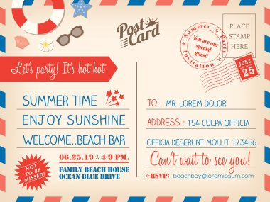 Vintage summer holiday postcard background template for invitati