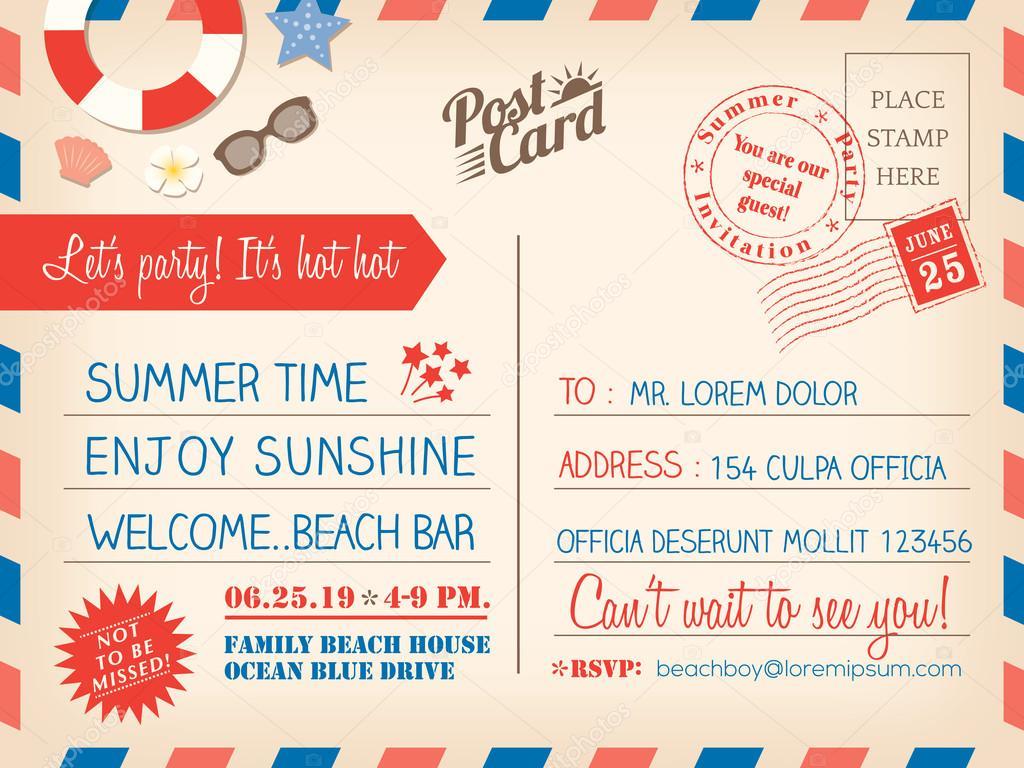 Vintage Sommer Urlaub Postkarte Hintergrund Vorlage für invitati ...