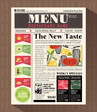 Restaurant Menu Design Template in Newspaper style
