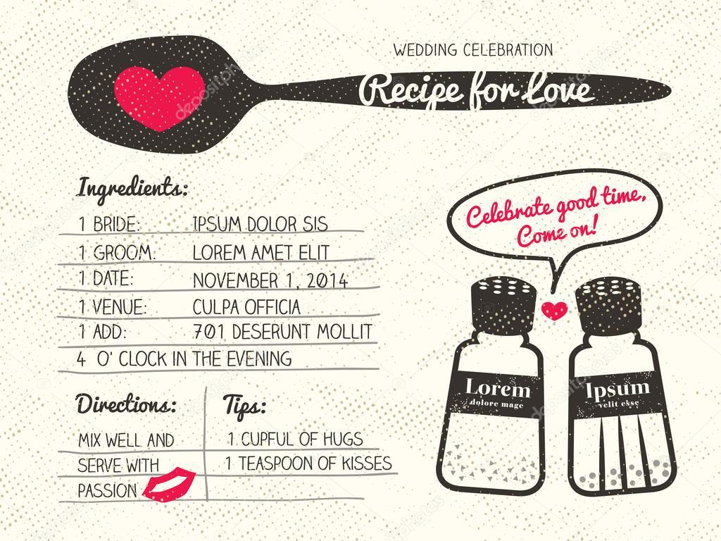 Recept Voor Liefde Creatieve Bruiloft Uitnodiging Stockvector
