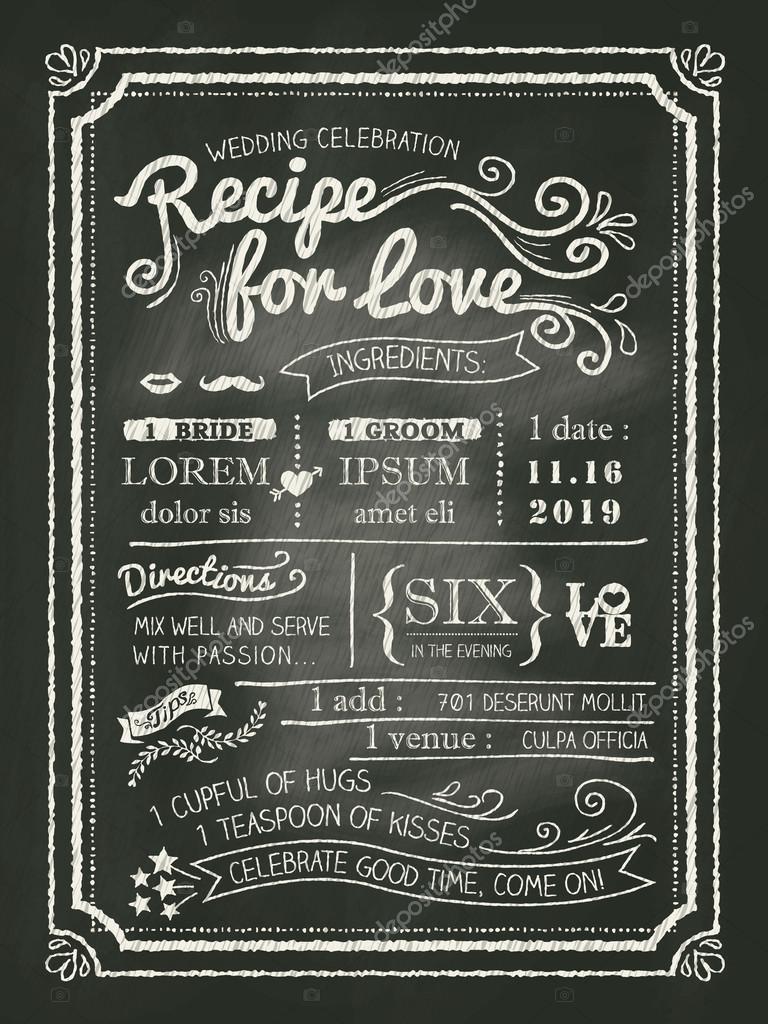 Recept Voor Liefde Schoolbord Bruiloft Uitnodigingskaart