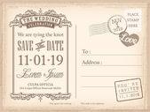 Fotografia cartolina depoca salva lo sfondo data per invito a nozze