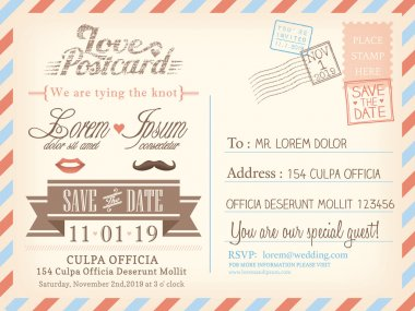 Vintage airmail postcard background vector template for wedding