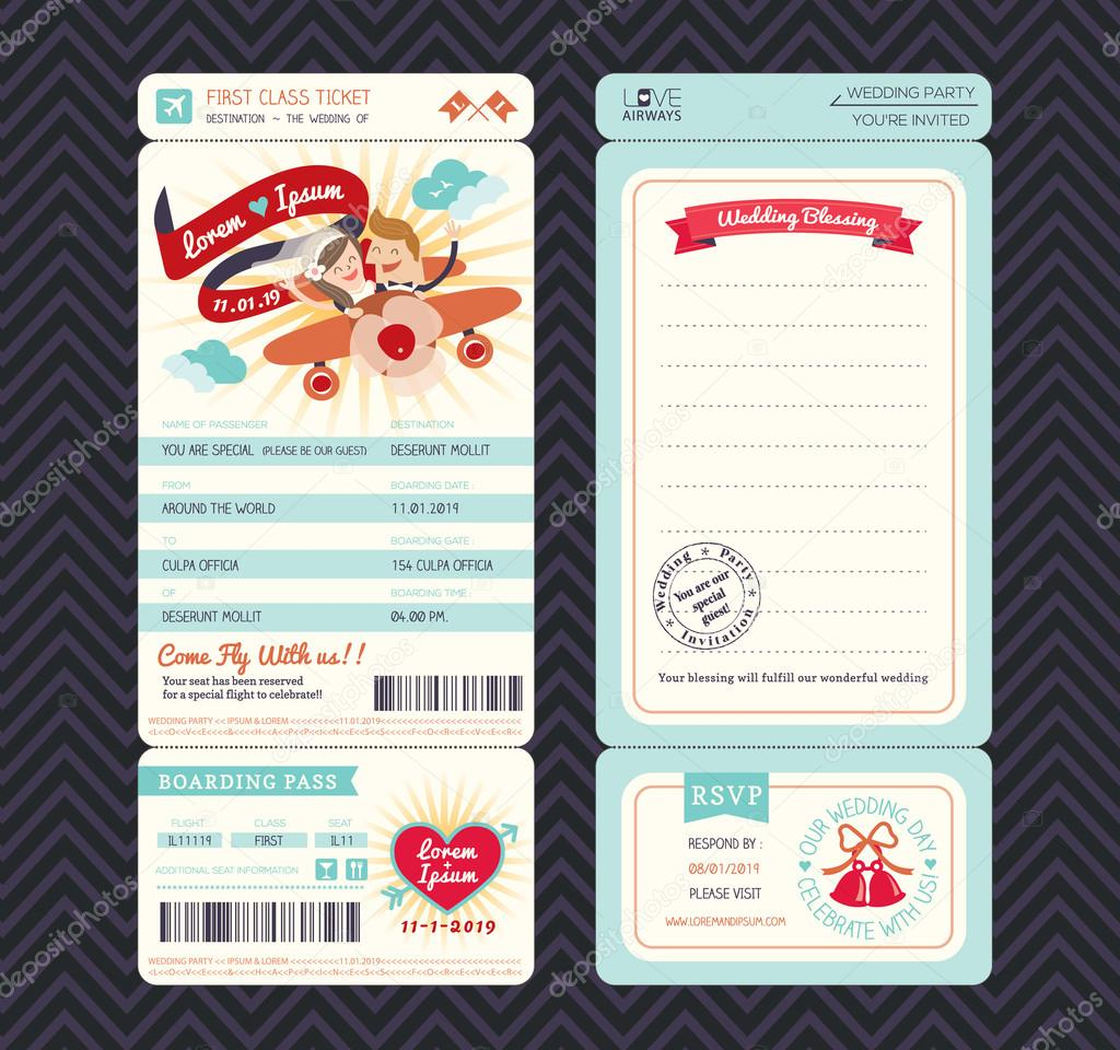 Cartoon Boarding Pass Ticket Wedding Invitation Template Vector ...