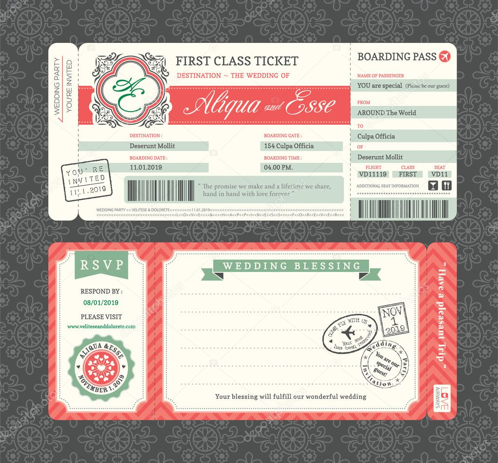 Vintage Boarding Pass Ticket Wedding Invitation Template stock vector