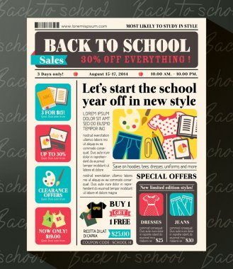 Back to School Sales Promotional Design Template in Newspaper Jo