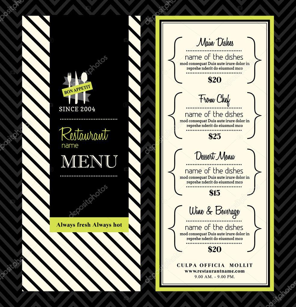 moderno restaurante menú plantilla diseño — Vector de stock ...