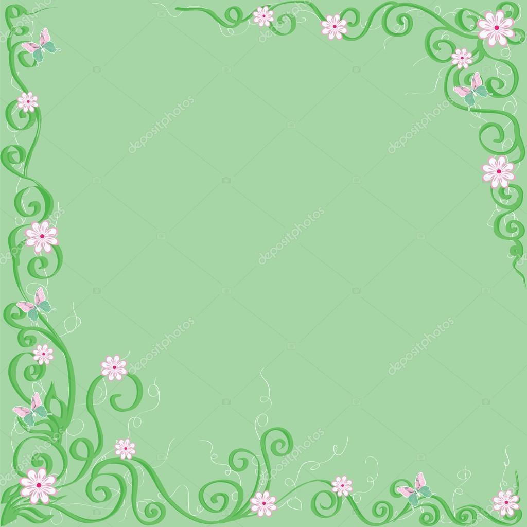 Sfondo Verde Con Fiori E Farfalle Vettoriali Stock Lgrape
