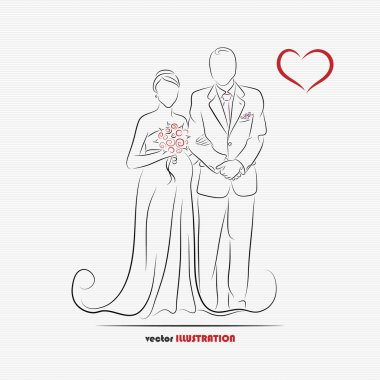 Silhouette of pregnant bride and her groom for greeting card or wedding invitation stock vector