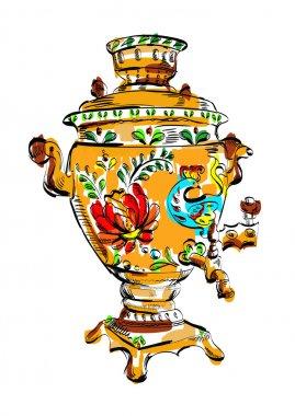 Russian colorful samovar, vector, sketch, tea