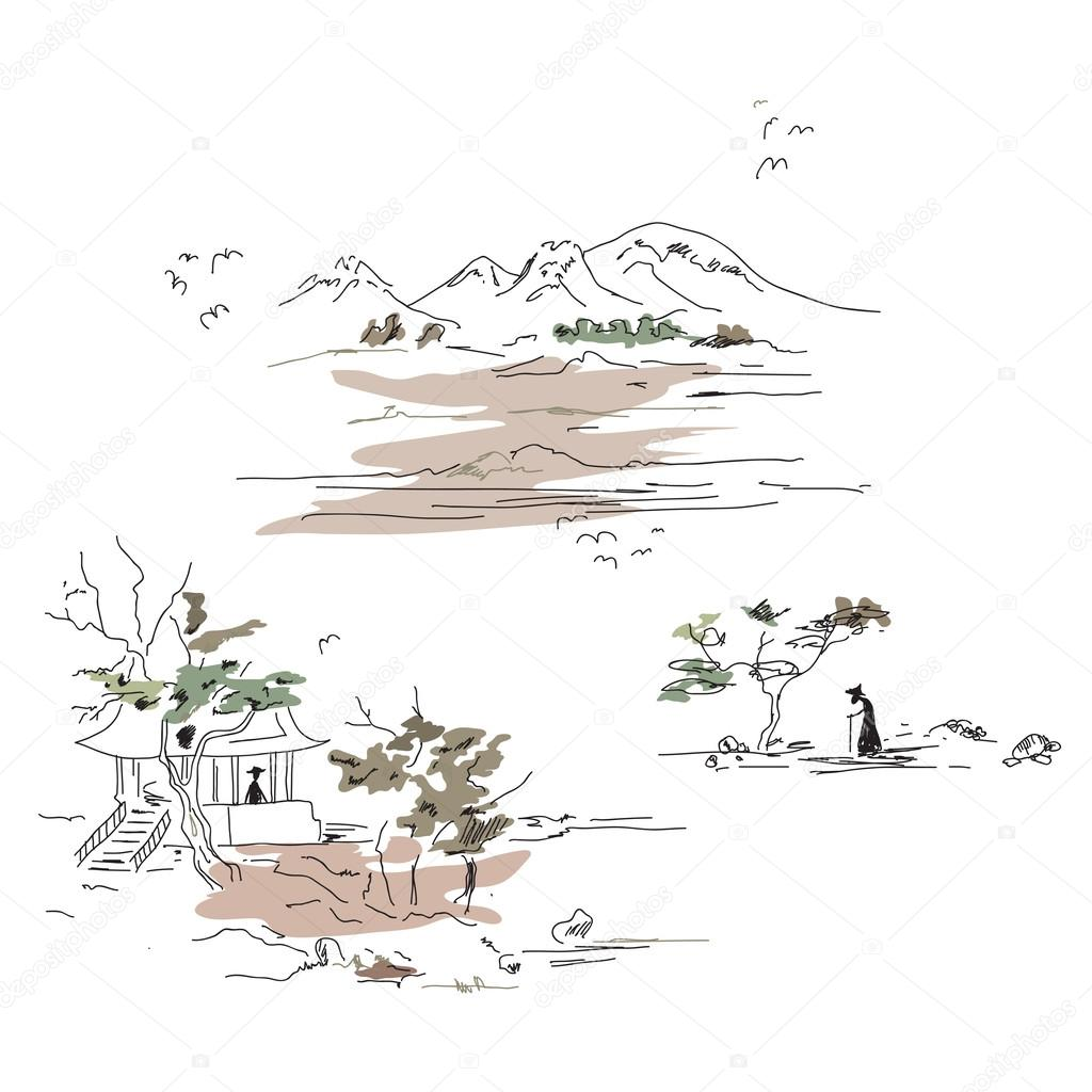 Mountain landscape in Japanese style