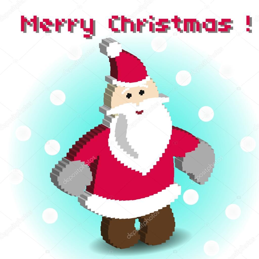 Jeu De Pixel Art Des Icônes Avec Le Père Noël Image