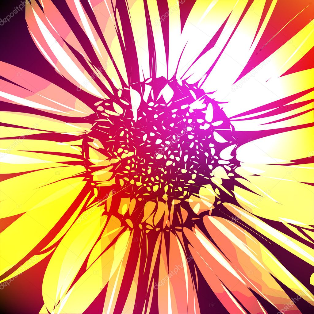 Pattern with abstract flowers daisy
