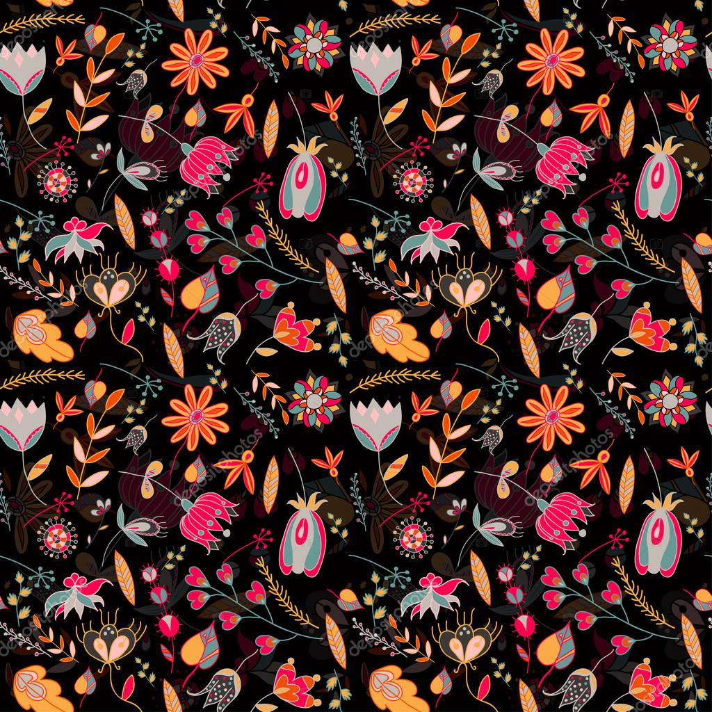 Seamless pattern on the black background