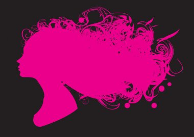 Beauty girl pink silhouette with background