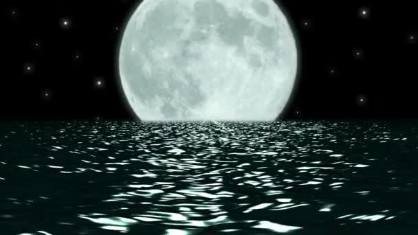 Ocean Night Large Moon Fantasy Scene Seamlessly Looping