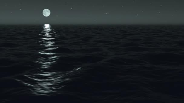oceán v noci moonrise scéna bezproblémově opakování
