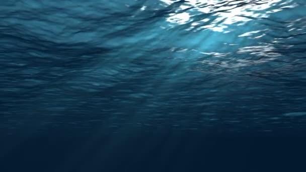 Realistická simulace pod vodou s pravoúhlými sluneční paprsky, opakování