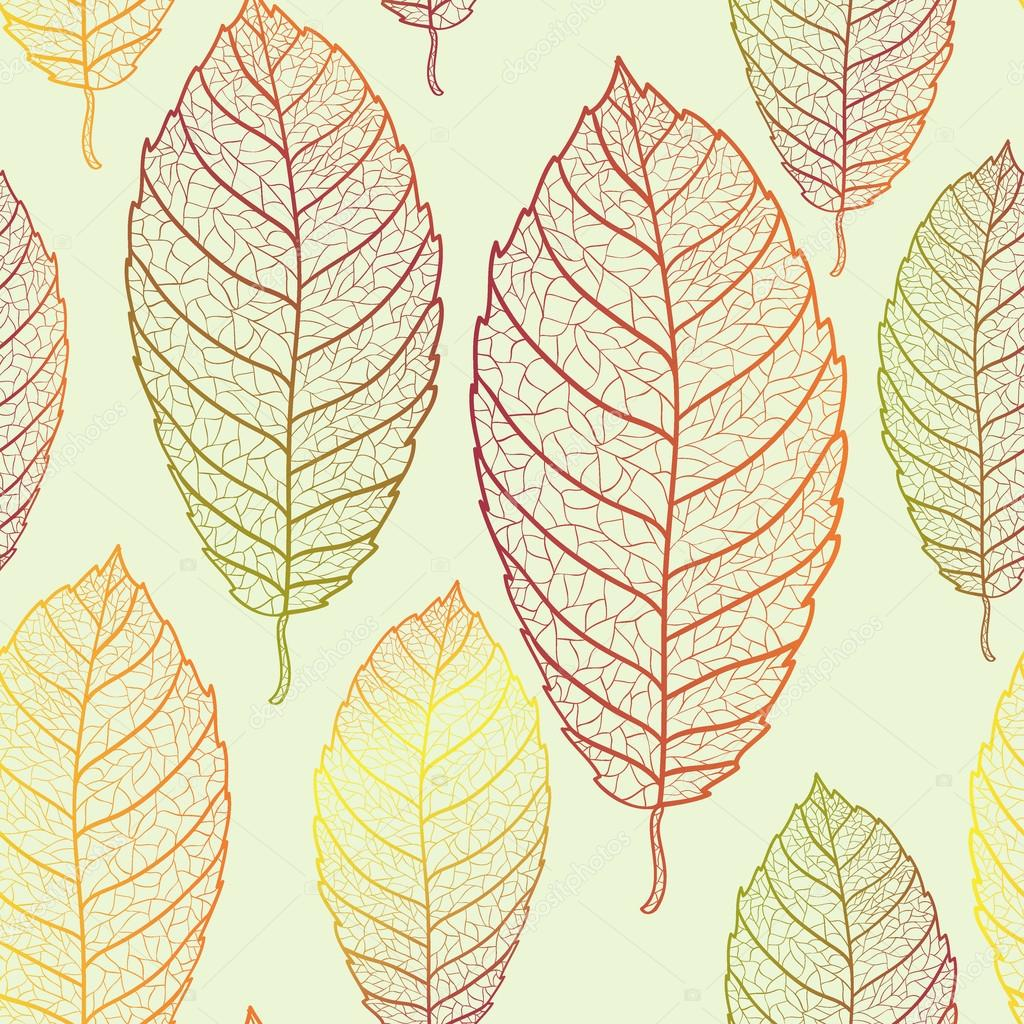 Autumn transparent leaves pattern background