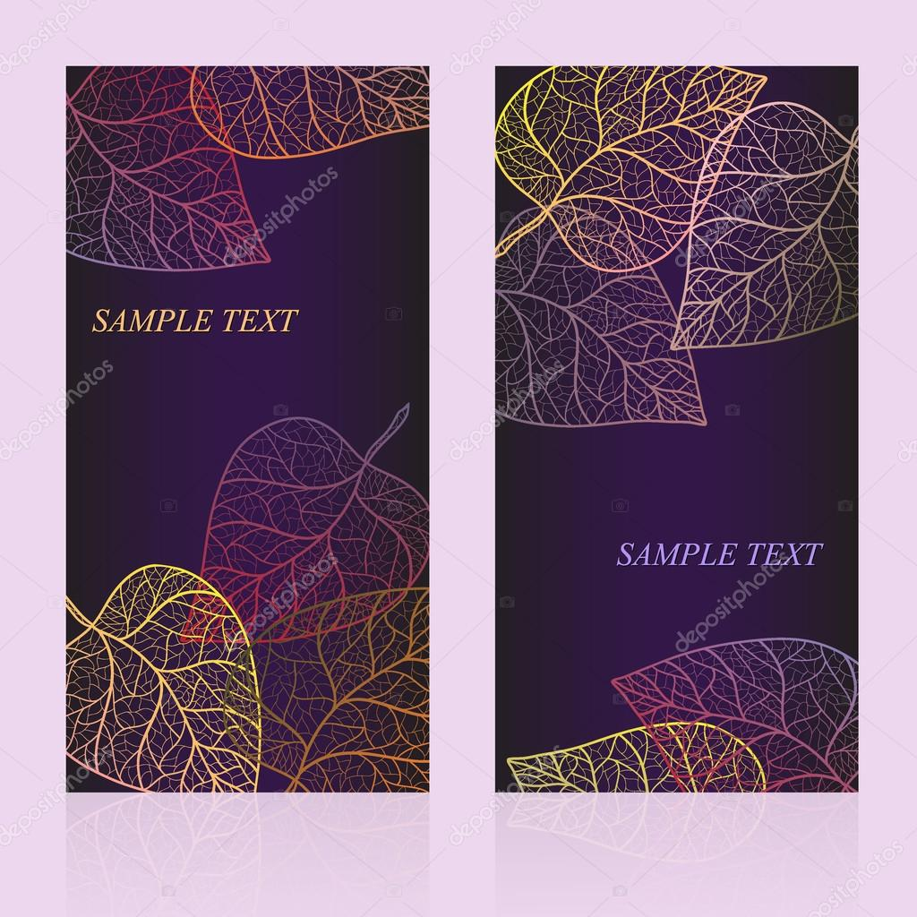 Abstract template card with autumn leaves and your text for background. Layered vector.
