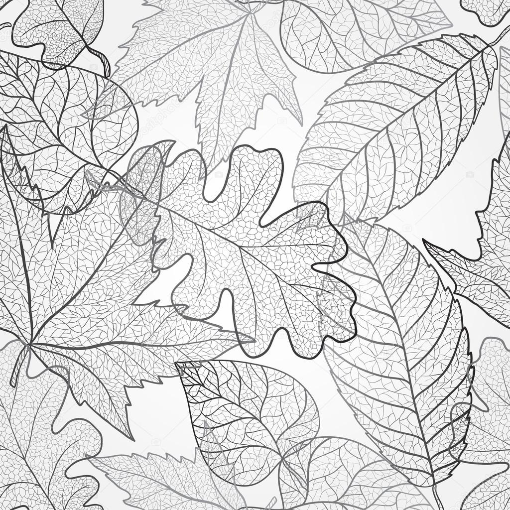 Autumn transparent maple leaves pattern background. Black and white art autumn leaves pattern. Fabric texture.