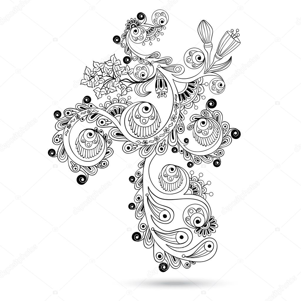 Flower pattern engraving scroll motif for vintage design card vector isolated on the white background. Black and white version.