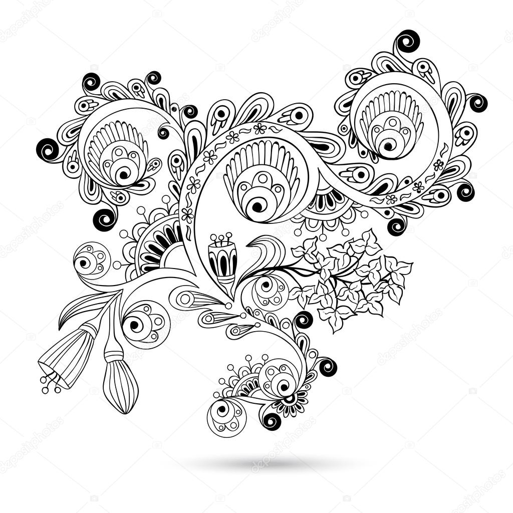 Çiçek deseni kaydırma motif için vintage design kart vektör oyma beyaz zemin üzerine izole. siyah beyaz versiyonu — Stok Vektör