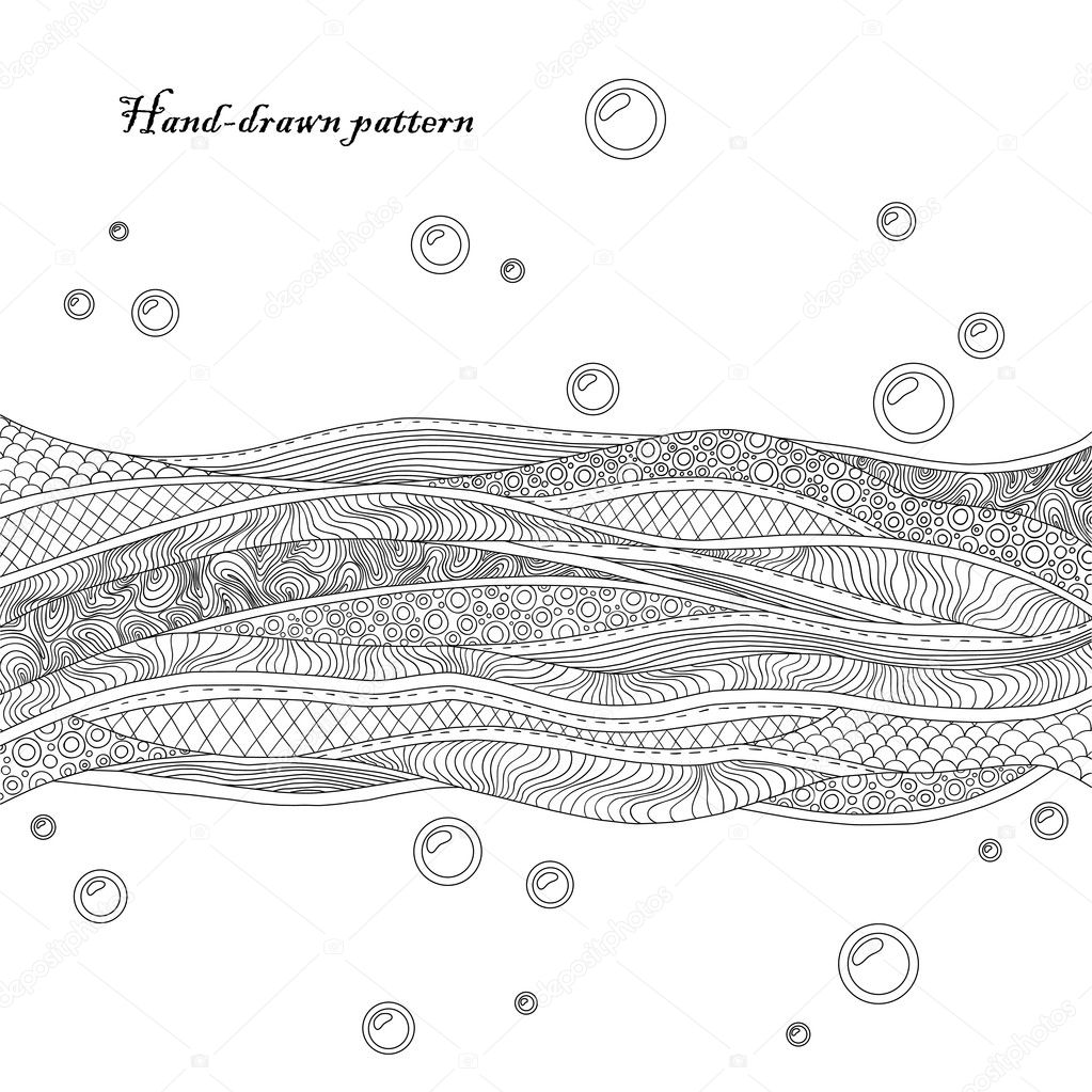 Black and white decorative waves background. Beautiful hand-drawn card