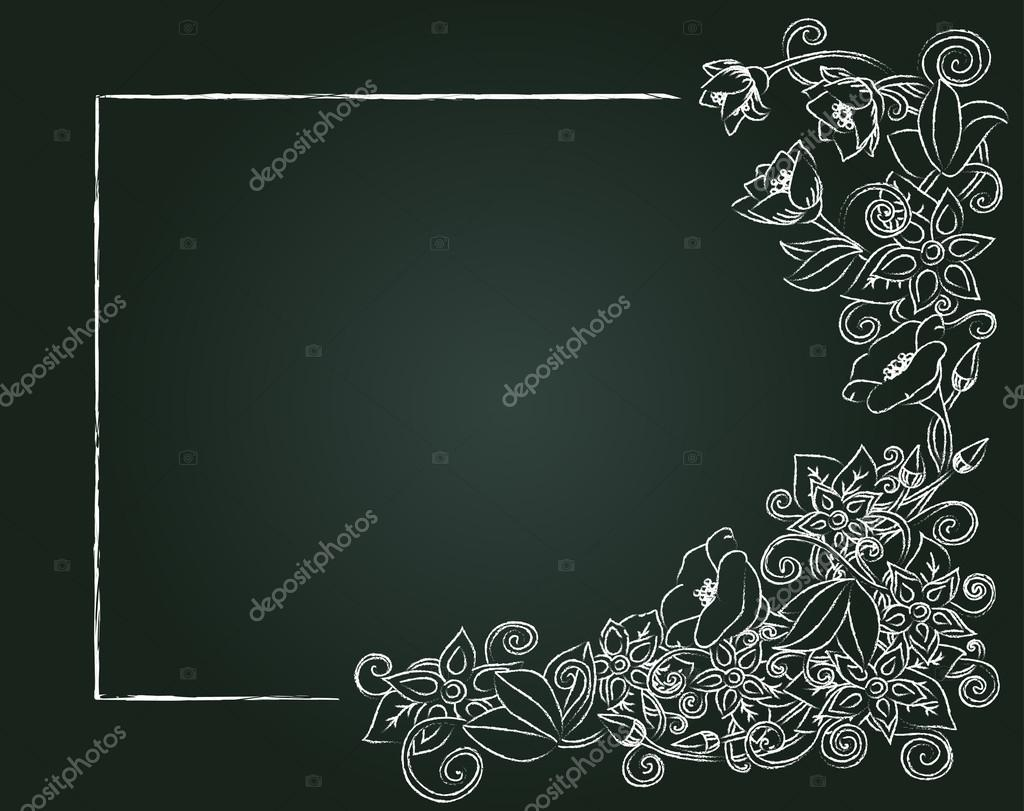 Vector floral card, hand drawn chalk flowers and leaves on the dark background.