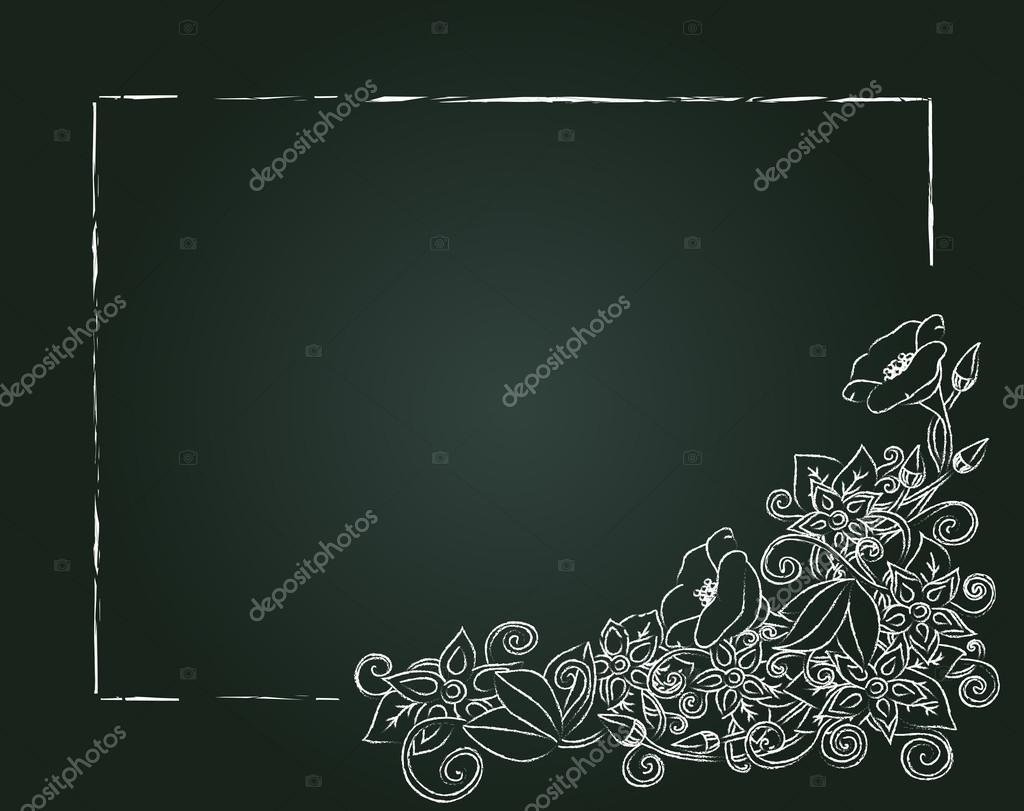 Vector floral card, hand drawn chalk flowers and leaves.