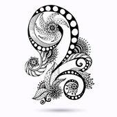 Henna paisley mehndi čmáranice abstraktní květinové vektorové ilustrace designový prvek. černobílá verze.